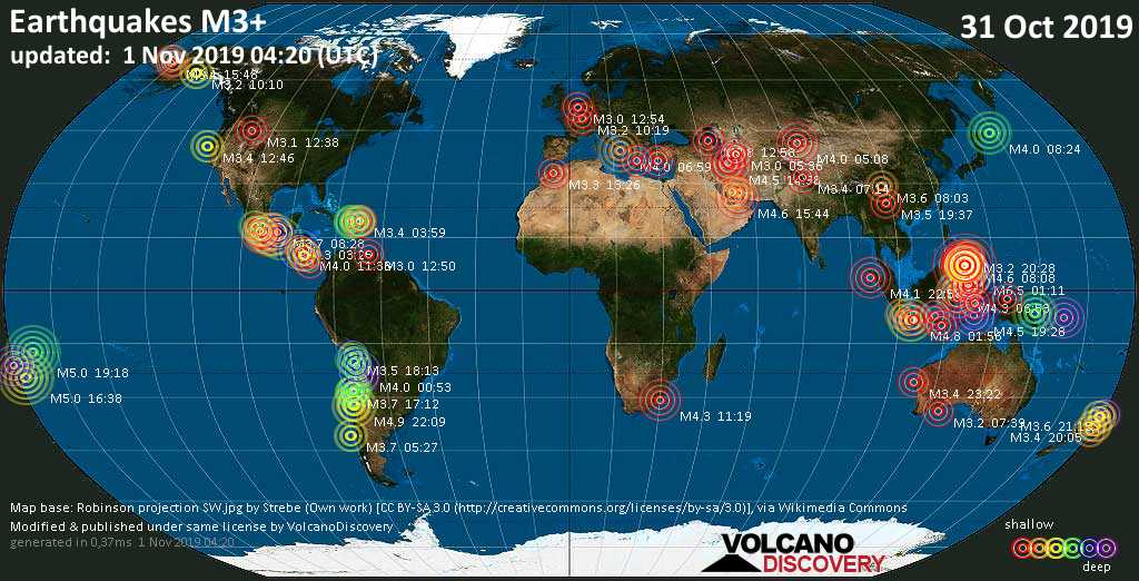 World map showing earthquakes above magnitude 3 during the past 24 hours on  1 Nov 2019