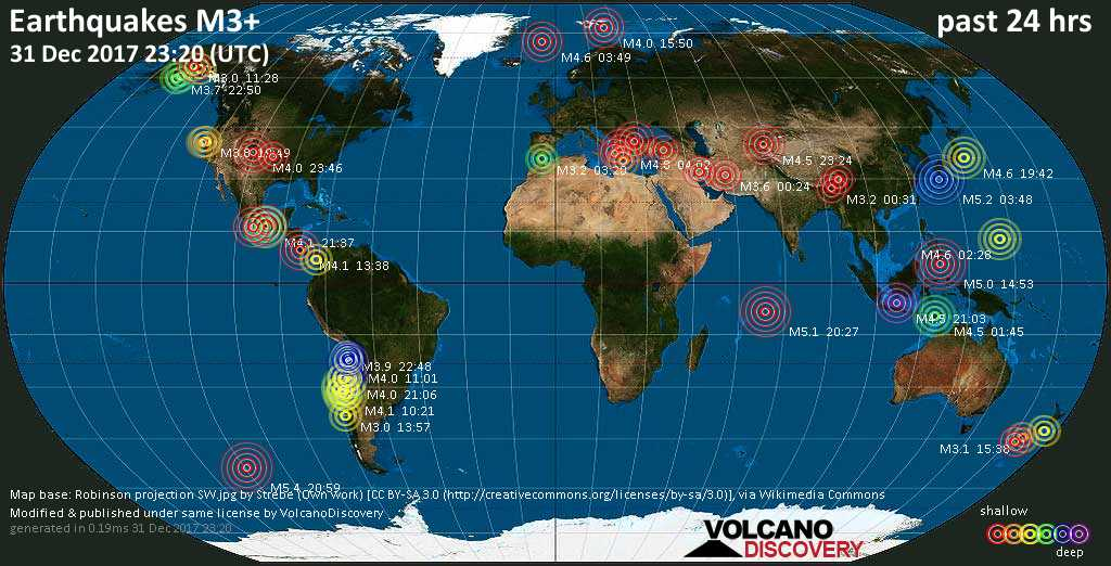World map showing earthquakes above magnitude 3 during the past 24 hours on 31 Dec 2017
