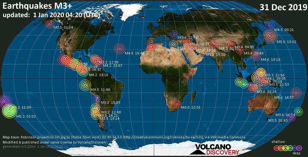 World map showing earthquakes above magnitude 3 during the past 24 hours on  1 Jan 2020