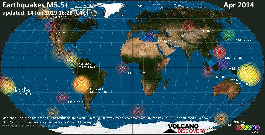 World map showing earthquakes above magnitude 5.5 during April 2014