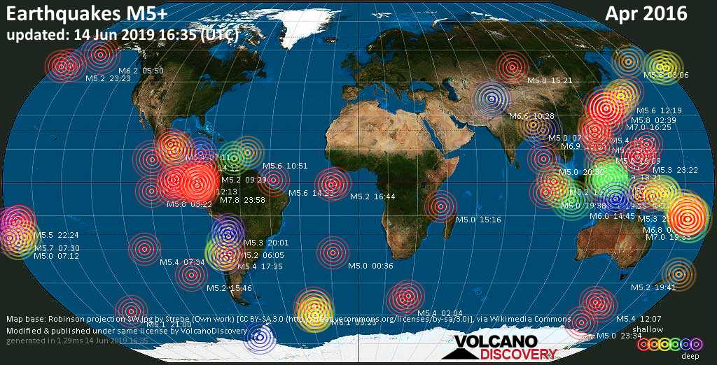 World map showing earthquakes above magnitude 5 during April 2016