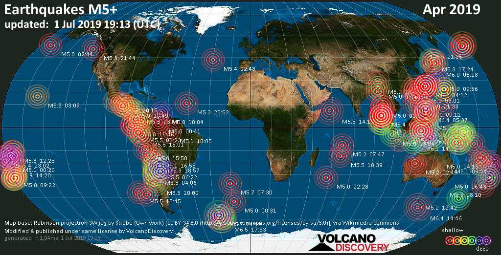 World map showing earthquakes above magnitude 5 during April 2019