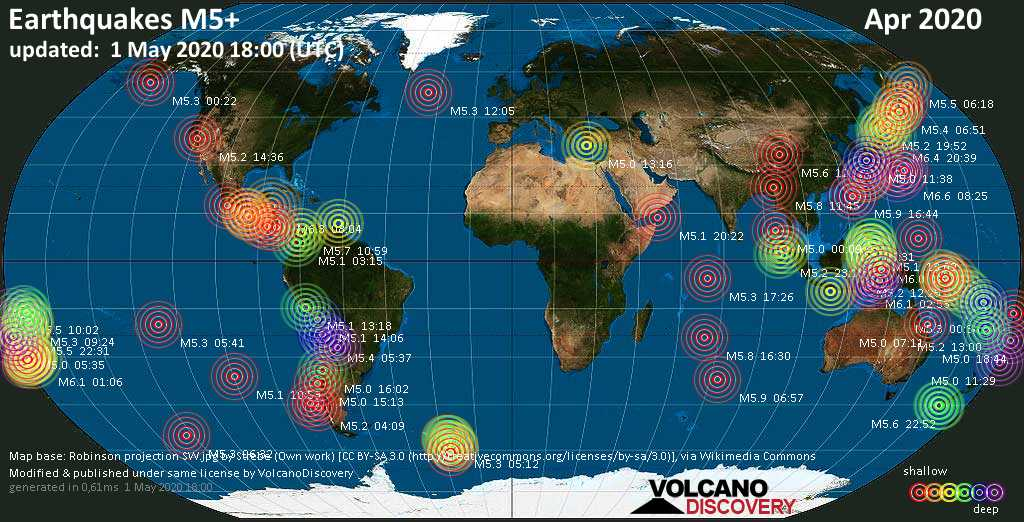 World map showing earthquakes above magnitude 5 during April 2020