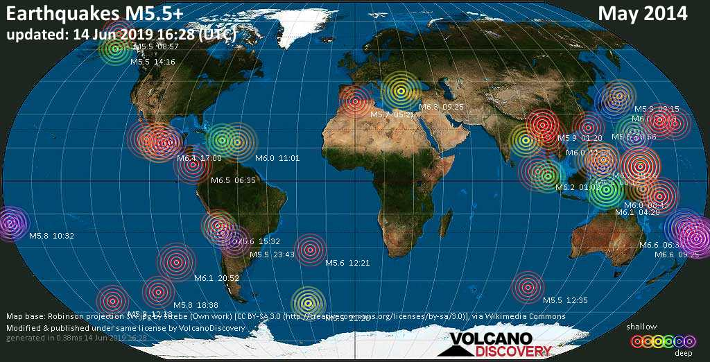 World map showing earthquakes above magnitude 5.5 during May 2014