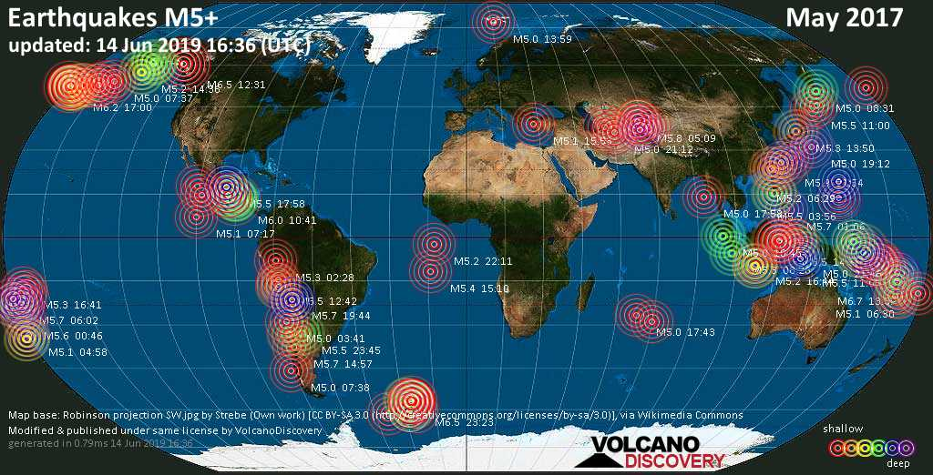 World map showing earthquakes above magnitude 5 during May 2017