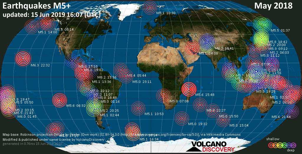 World map showing earthquakes above magnitude 5 during May 2018