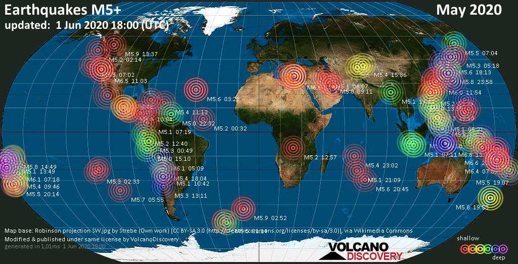 World map showing earthquakes above magnitude 5 during May 2020