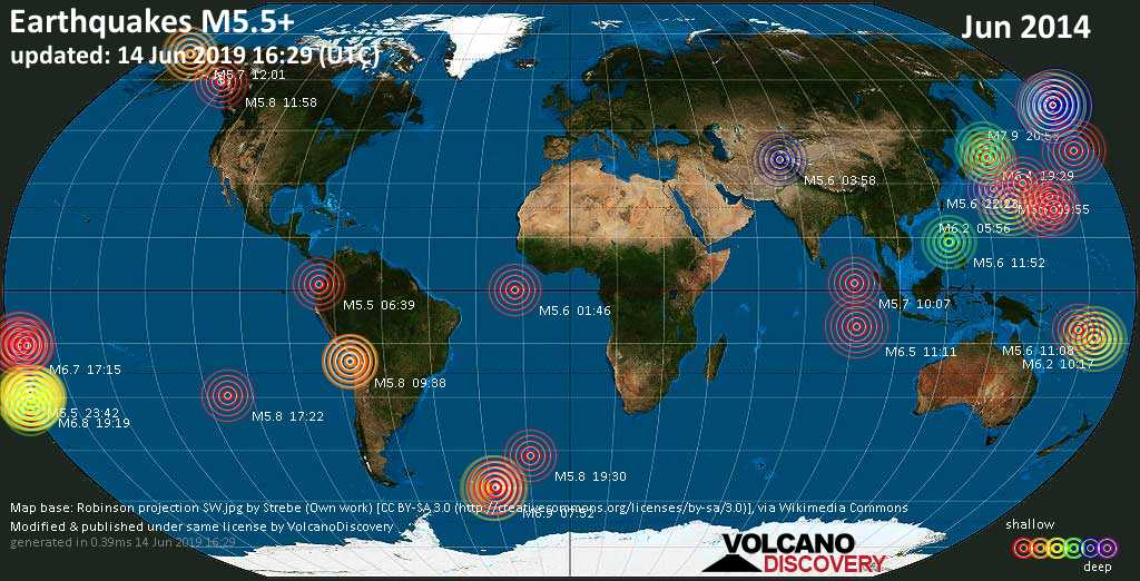 World map showing earthquakes above magnitude 5.5 during June 2014