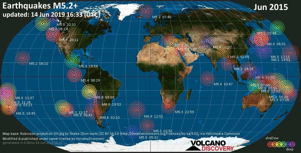 World map showing earthquakes above magnitude 5.2 during June 2015