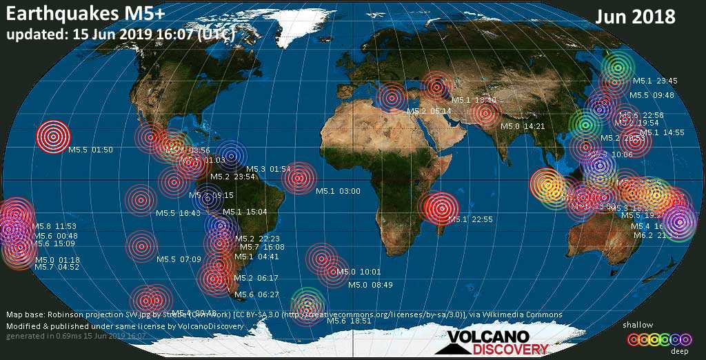 World map showing earthquakes above magnitude 5 during June 2018