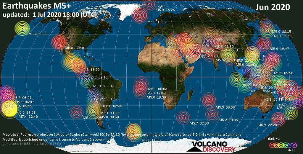 World map showing earthquakes above magnitude 5 during June 2020