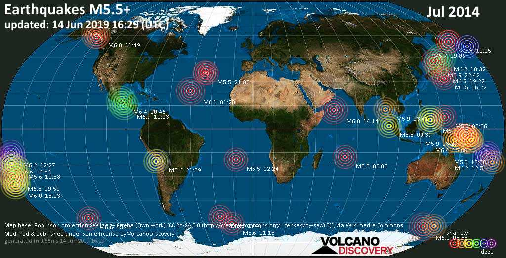 World map showing earthquakes above magnitude 5.5 during July 2014