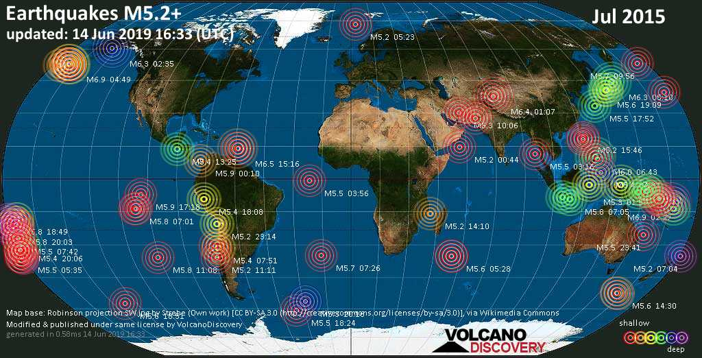 World map showing earthquakes above magnitude 5.2 during July 2015
