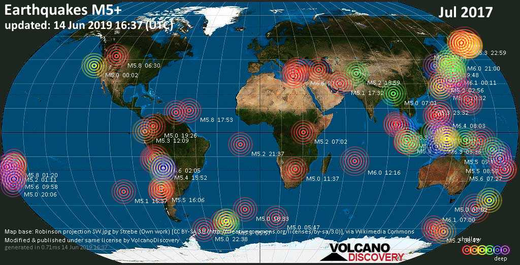 World map showing earthquakes above magnitude 5 during July 2017