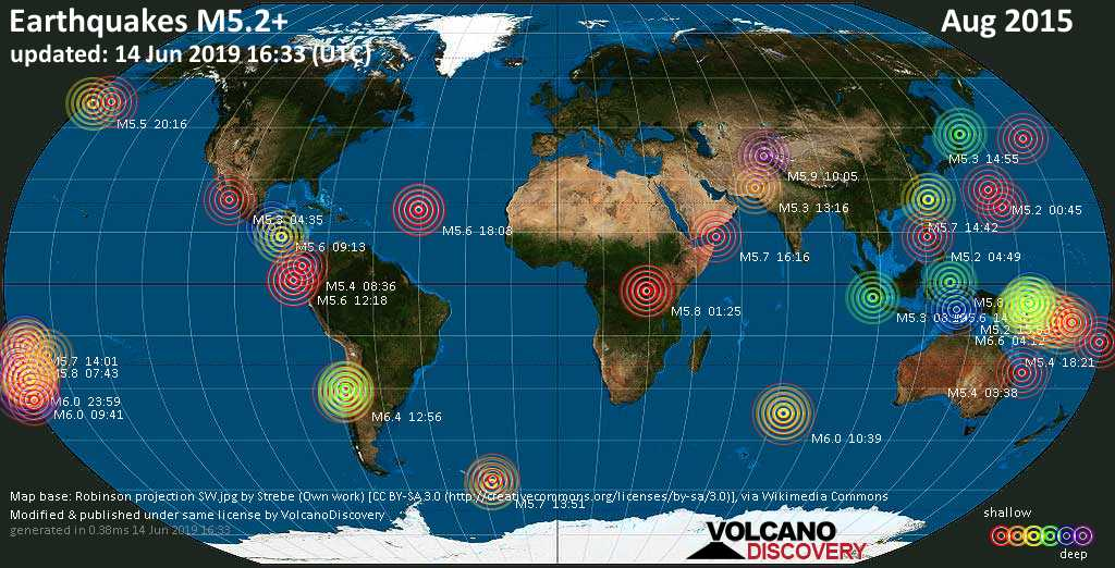 World map showing earthquakes above magnitude 5.2 during August 2015