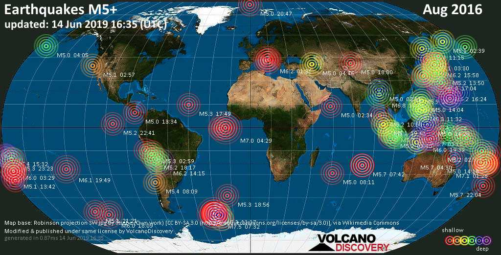 World map showing earthquakes above magnitude 5 during August 2016