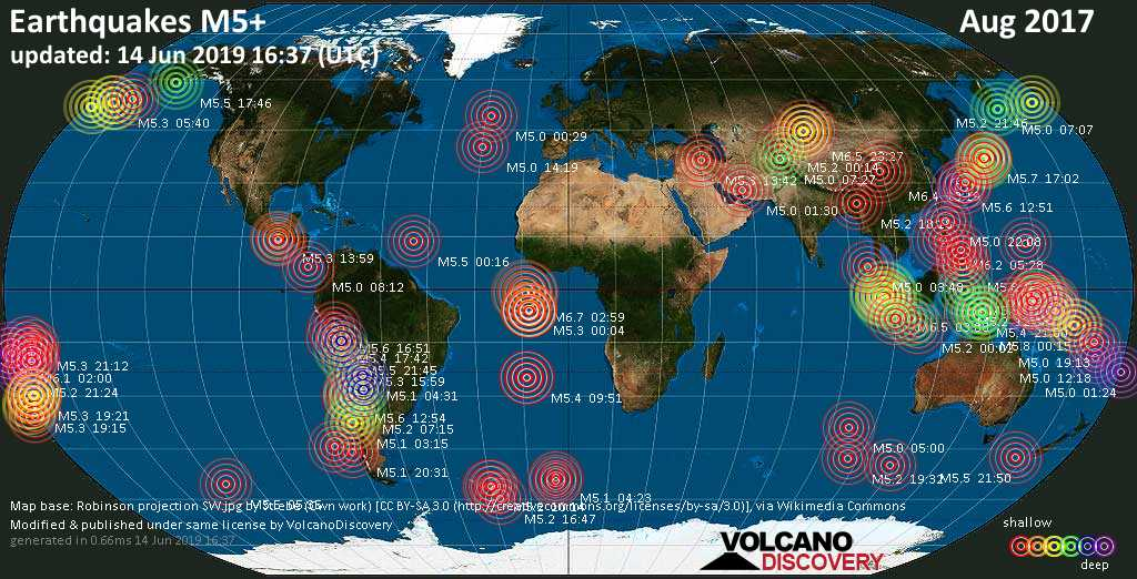 World map showing earthquakes above magnitude 5 during August 2017