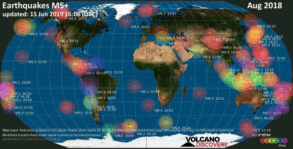 World map showing earthquakes above magnitude 5 during August 2018