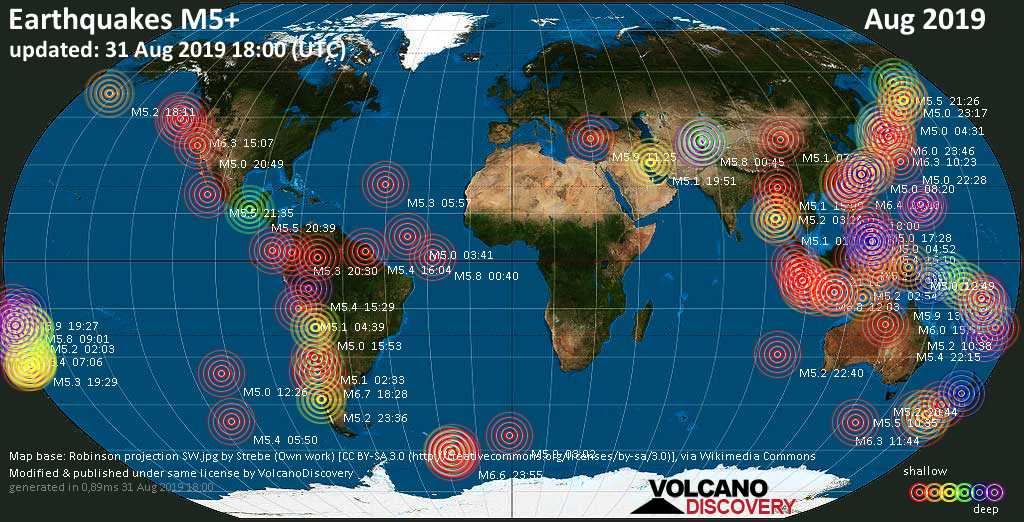 World map showing earthquakes above magnitude 5 during August 2019