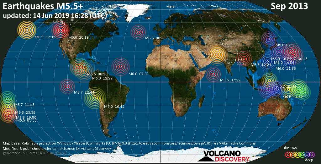 World map showing earthquakes above magnitude 5.5 during September 2013