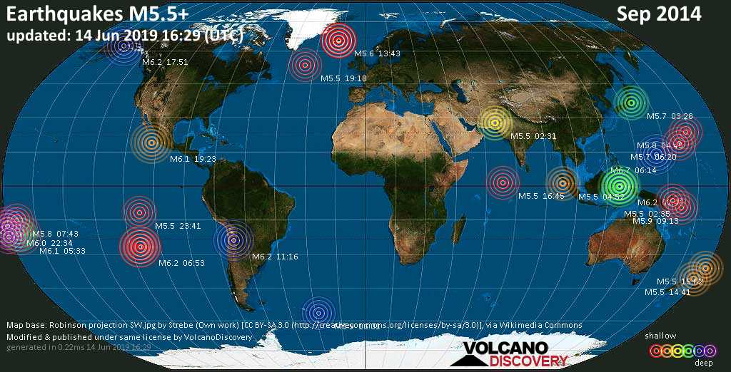 World map showing earthquakes above magnitude 5.5 during September 2014