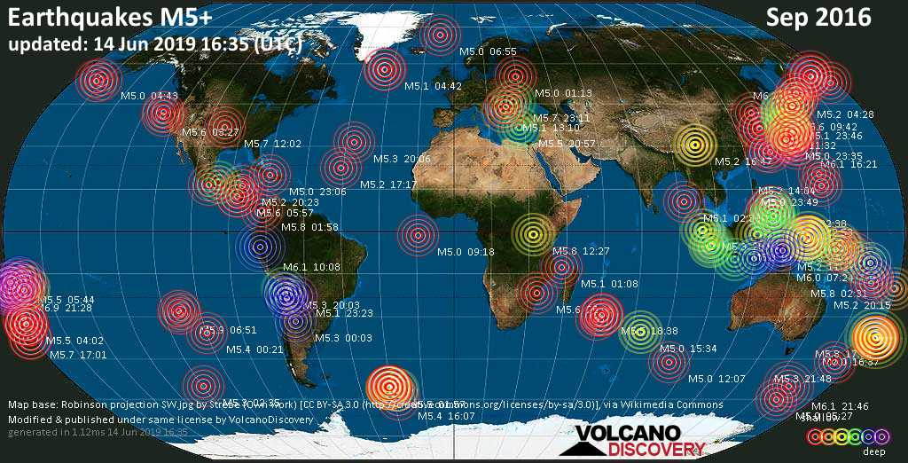 World map showing earthquakes above magnitude 5 during September 2016