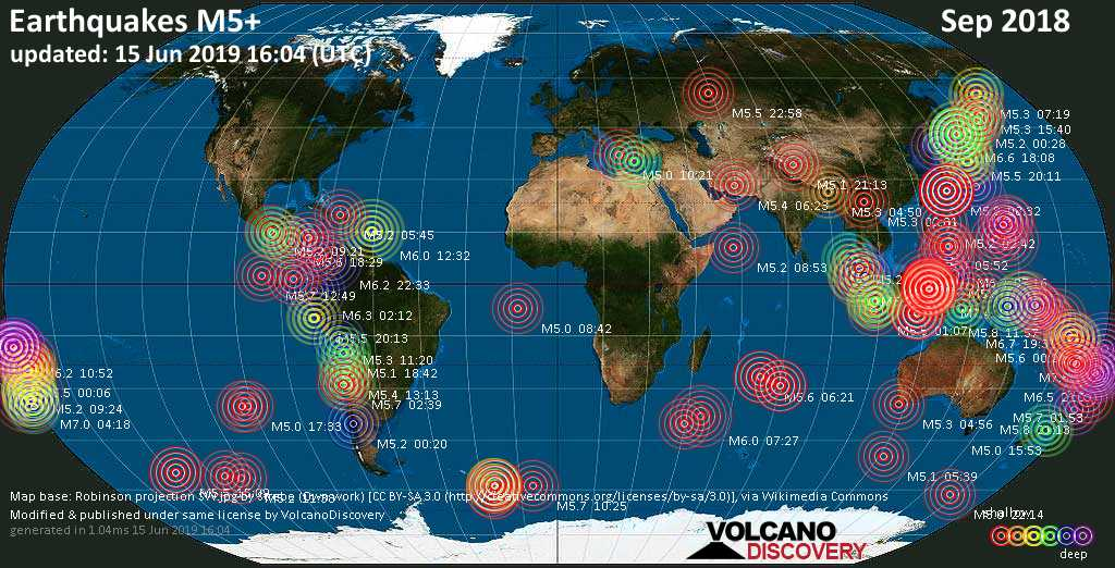 World map showing earthquakes above magnitude 5 during September 2018