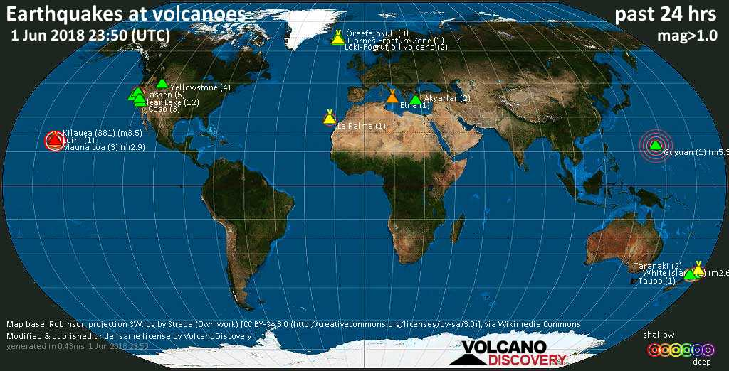 World map showing volcanoes with shallow (less than 20 km) earthquakes within 20 km radius  during the past 24 hours on  1 Jun 2018 Number in brackets indicate nr of quakes.