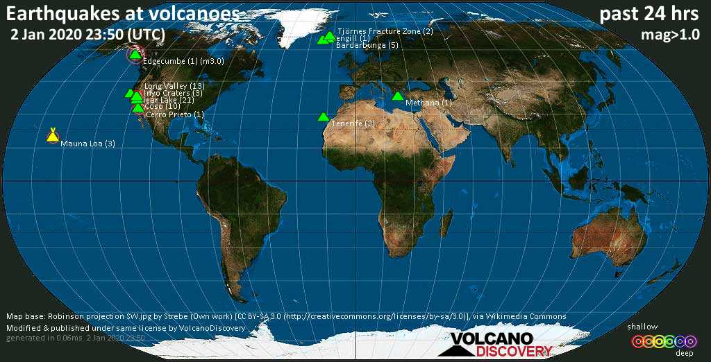 World map showing volcanoes with shallow (less than 20 km) earthquakes within 20 km radius  during the past 24 hours on  2 Jan 2020 Number in brackets indicate nr of quakes.