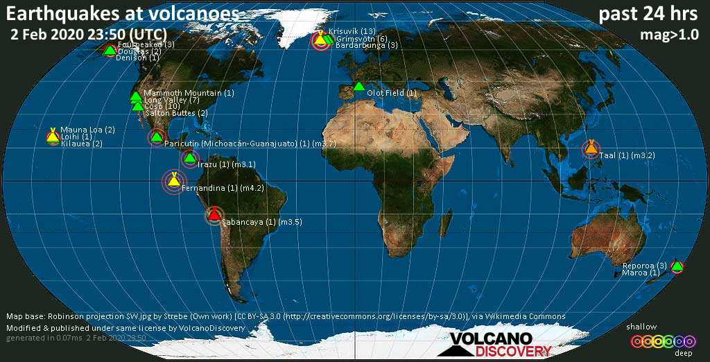 World map showing volcanoes with shallow (less than 20 km) earthquakes within 20 km radius  during the past 24 hours on  2 Feb 2020 Number in brackets indicate nr of quakes.
