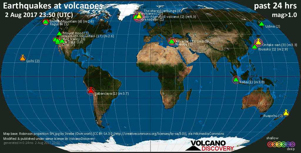 World map showing volcanoes with shallow (less than 20 km) earthquakes within 20 km radius  during the past 24 hours on  2 Aug 2017 Number in brackets indicate nr of quakes.