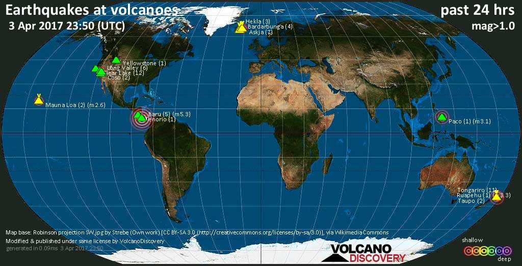 World map showing volcanoes with shallow (less than 20 km) earthquakes within 20 km radius  during the past 24 hours on  3 Apr 2017 Number in brackets indicate nr of quakes.