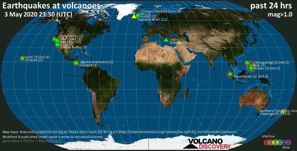 World map showing volcanoes with shallow (less than 20 km) earthquakes within 20 km radius  during the past 24 hours on  3 May 2020 Number in brackets indicate nr of quakes.