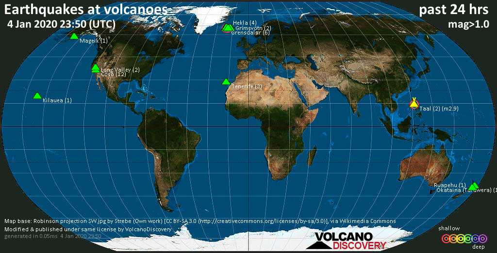 World map showing volcanoes with shallow (less than 20 km) earthquakes within 20 km radius  during the past 24 hours on  4 Jan 2020 Number in brackets indicate nr of quakes.