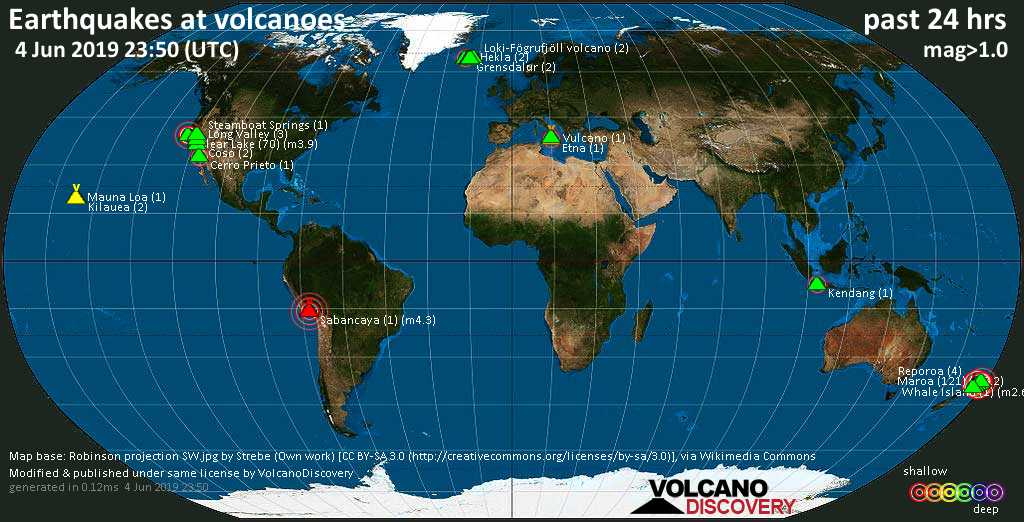World map showing volcanoes with shallow (less than 20 km) earthquakes within 20 km radius  during the past 24 hours on  4 Jun 2019 Number in brackets indicate nr of quakes.