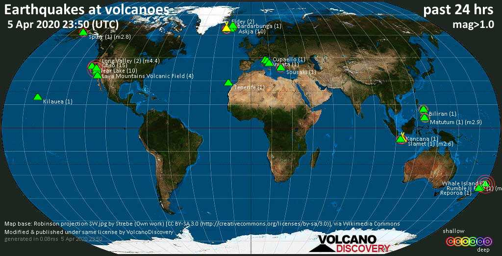 World map showing volcanoes with shallow (less than 20 km) earthquakes within 20 km radius  during the past 24 hours on  5 Apr 2020 Number in brackets indicate nr of quakes.