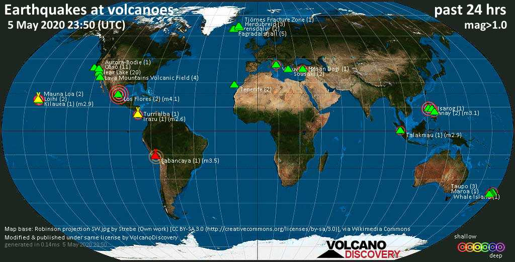 World map showing volcanoes with shallow (less than 20 km) earthquakes within 20 km radius  during the past 24 hours on  5 May 2020 Number in brackets indicate nr of quakes.