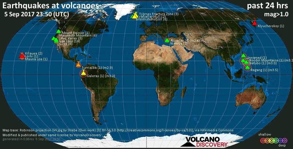 World map showing volcanoes with shallow (less than 20 km) earthquakes within 20 km radius  during the past 24 hours on  5 Sep 2017 Number in brackets indicate nr of quakes.