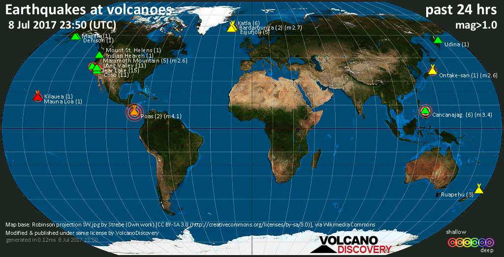 World map showing volcanoes with shallow (less than 20 km) earthquakes within 20 km radius  during the past 24 hours on  8 Jul 2017 Number in brackets indicate nr of quakes.