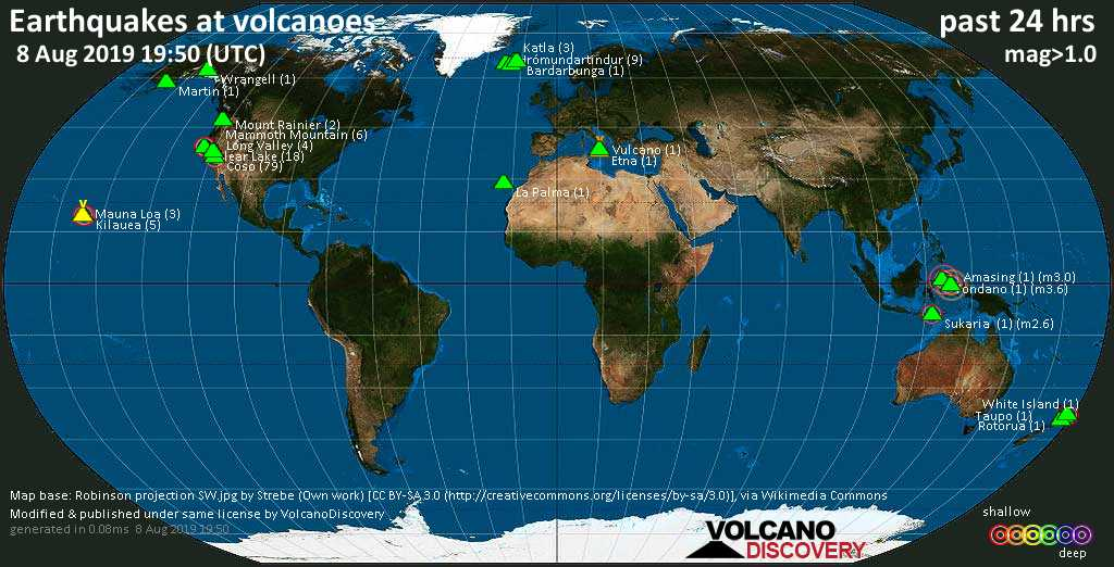 World map showing volcanoes with shallow (less than 20 km) earthquakes within 20 km radius  during the past 24 hours on  8 Aug 2019 Number in brackets indicate nr of quakes.
