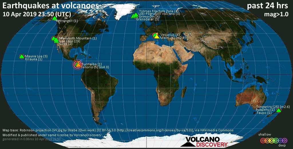 World map showing volcanoes with shallow (less than 20 km) earthquakes within 20 km radius  during the past 24 hours on 10 Apr 2019 Number in brackets indicate nr of quakes.