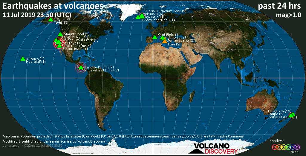 World map showing volcanoes with shallow (less than 20 km) earthquakes within 20 km radius  during the past 24 hours on 11 Jul 2019 Number in brackets indicate nr of quakes.