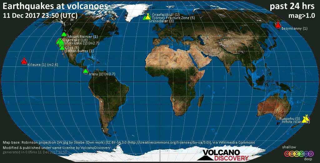 World map showing volcanoes with shallow (less than 20 km) earthquakes within 20 km radius  during the past 24 hours on 11 Dec 2017 Number in brackets indicate nr of quakes.