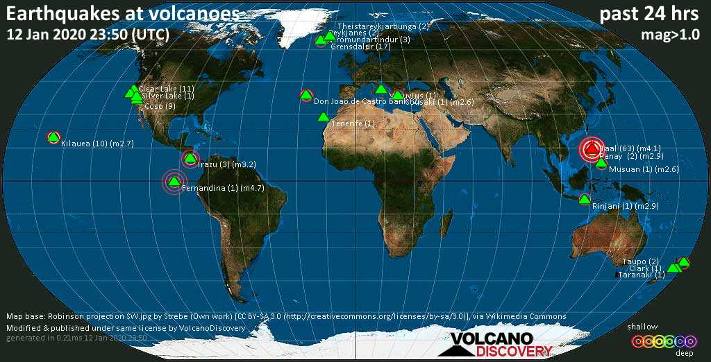 World map showing volcanoes with shallow (less than 20 km) earthquakes within 20 km radius  during the past 24 hours on 12 Jan 2020 Number in brackets indicate nr of quakes.