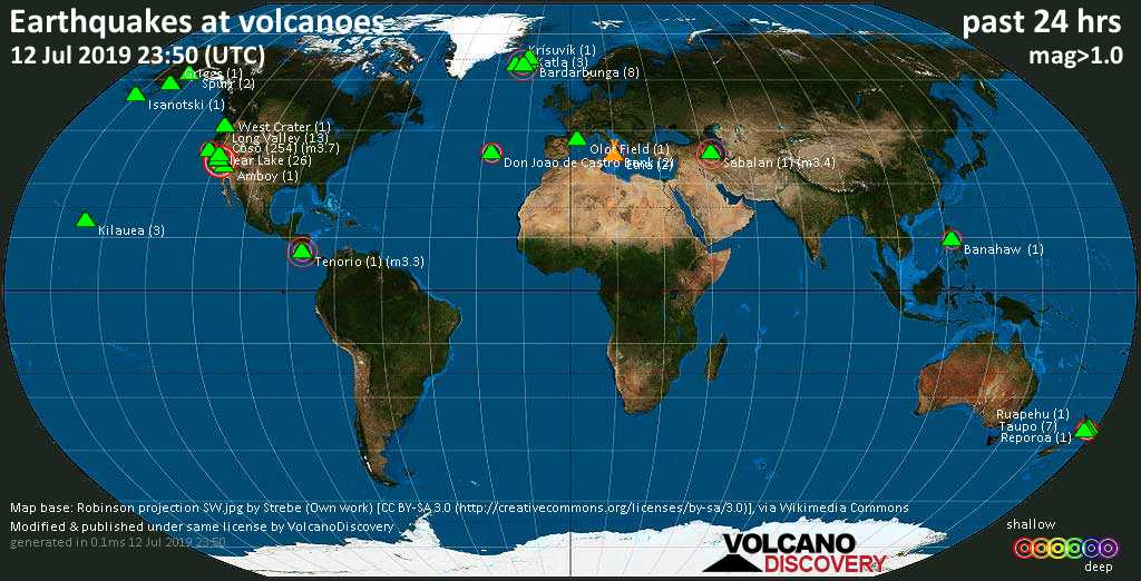 World map showing volcanoes with shallow (less than 20 km) earthquakes within 20 km radius  during the past 24 hours on 12 Jul 2019 Number in brackets indicate nr of quakes.