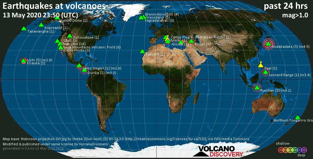 World map showing volcanoes with shallow (less than 20 km) earthquakes within 20 km radius  during the past 24 hours on 13 May 2020 Number in brackets indicate nr of quakes.