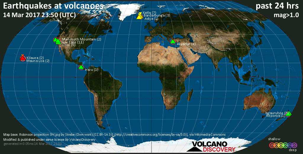 World map showing volcanoes with shallow (less than 20 km) earthquakes within 20 km radius  during the past 24 hours on 14 Mar 2017 Number in brackets indicate nr of quakes.