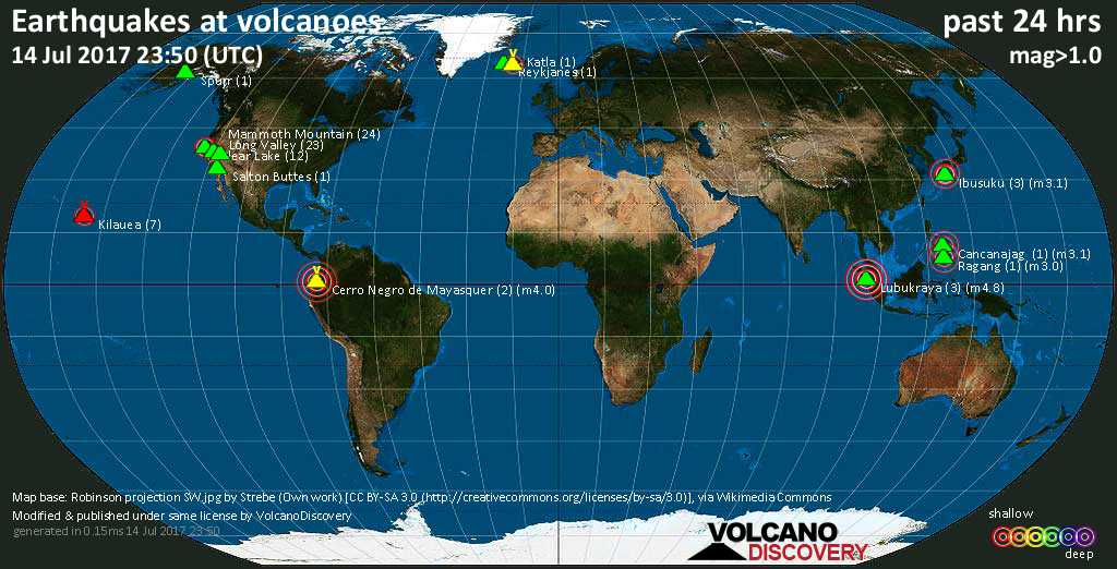 World map showing volcanoes with shallow (less than 20 km) earthquakes within 20 km radius  during the past 24 hours on 14 Jul 2017 Number in brackets indicate nr of quakes.