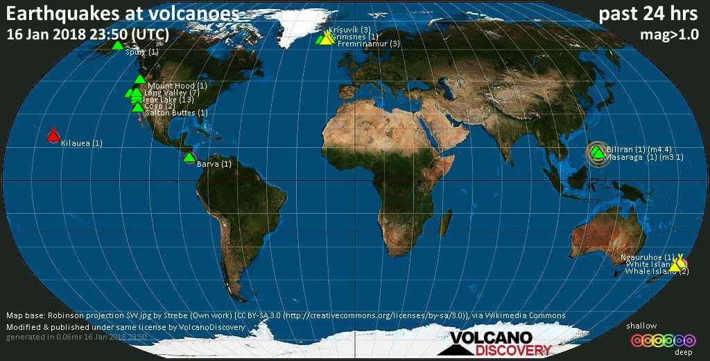 World map showing volcanoes with shallow (less than 20 km) earthquakes within 20 km radius  during the past 24 hours on 16 Jan 2018 Number in brackets indicate nr of quakes.