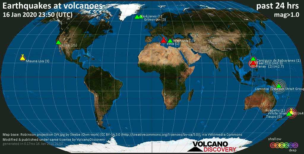World map showing volcanoes with shallow (less than 20 km) earthquakes within 20 km radius  during the past 24 hours on 16 Jan 2020 Number in brackets indicate nr of quakes.